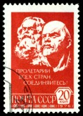 13161575-ussr--circa-1976-a-stamp-printed-in-the-ussr-shows-portraits-karl-marx-and-v-i-lenin-circa-1976