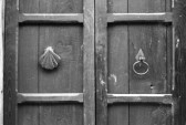14601292-black--white-door-detail-with-a-shell-and-handle